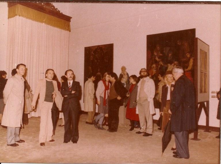 Inaugurazione della mostra 'Arte e pietà' a Palazzo Pepoli, Bologna. Andrea Emiliani fra Giovanni Losavio e Lanfranco Turci, 1980