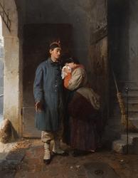 Piacenza, Galleria d'arte moderna Ricci Oddi: Girolamo Induno, La partenza del conscritto, 1862 (olio su tela)