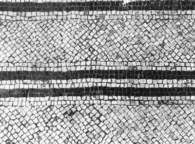 Villa romana di Russi - RA: particolare decorativo del mosaico del cubiculum n. 8 (foto A. Viggiano 1981)