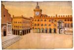 Veduta di piazza Maggiore a Bologna, di Desiderio Fontana, Museo dei Burattini, Budrio