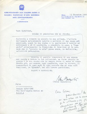 Lettera di Palma Bucarelli a Zavattini