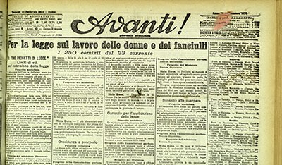 """Per la legge sul lavoro delle donne e dei fanciulli, """"L'Avanti"""", 21 febbraio 1902, Biblioteca dell'Archiginnasio Bologna"""