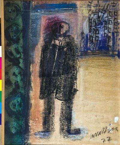 C. Zavattini: Ricordo di Ligabue_1977, tecnica mista su compensato, 50 x 40