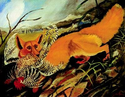 Ligabue: Volpe in fuga, 1932, olio su compensato, 60x77