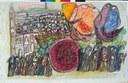 C. Zavattini: Processione a Luzzara con mangiatori di cocomero, 1973, tecnica mista su cartone, 65,5x100