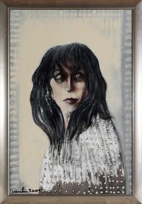 """Ritratto di """"Nannarella"""". Ritratto di Anna Magnani, 2001, smalto e colori metallici su tela, cm 120 x80, Collezione privata"""