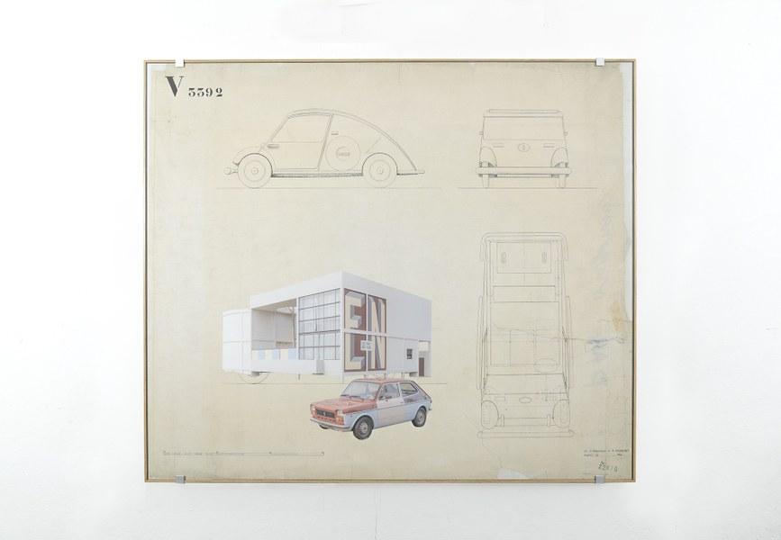 Cristian Chironi,Car project V3392  Fiat 127 Special (Camaleonte) - Esprit Nouveau Pavilion , fotografia e collage1