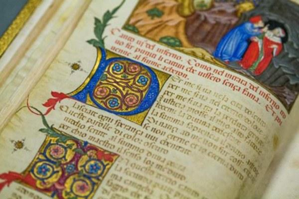 WEB Bim, Manoscritto 76 _ Inferno Parigi-Imola_Dante e Virgilio davanti alla porta dell'Inferno, c. 4v, dettaglio, 1440 ca.jpg